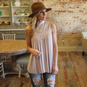 Rose Taupe Lace Detail Tunic